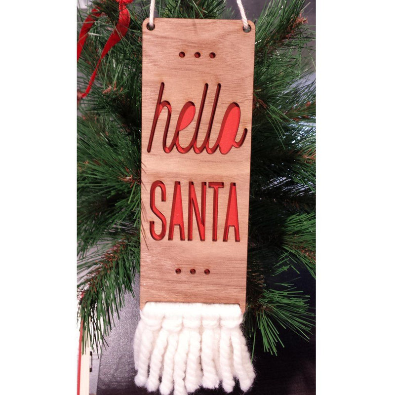 Hello Santa Christmas Door Sign - Project Nursery