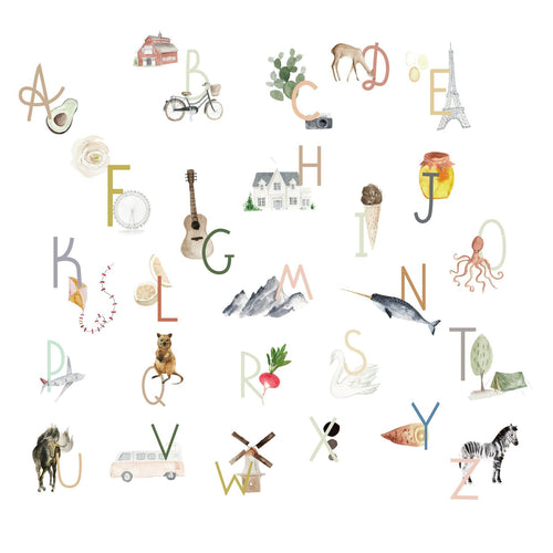 Watercolor Alphabet Wall Decal Wall Decals The Lovely Wall Company