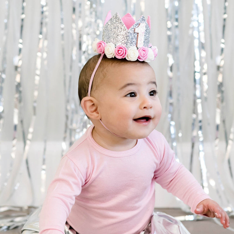 Birthday Flower Crown - Silver Glitter - Project Nursery