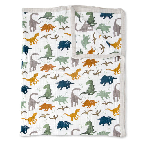 Dino Friends Big Kid Cotton Muslin Quilt - Project Nursery