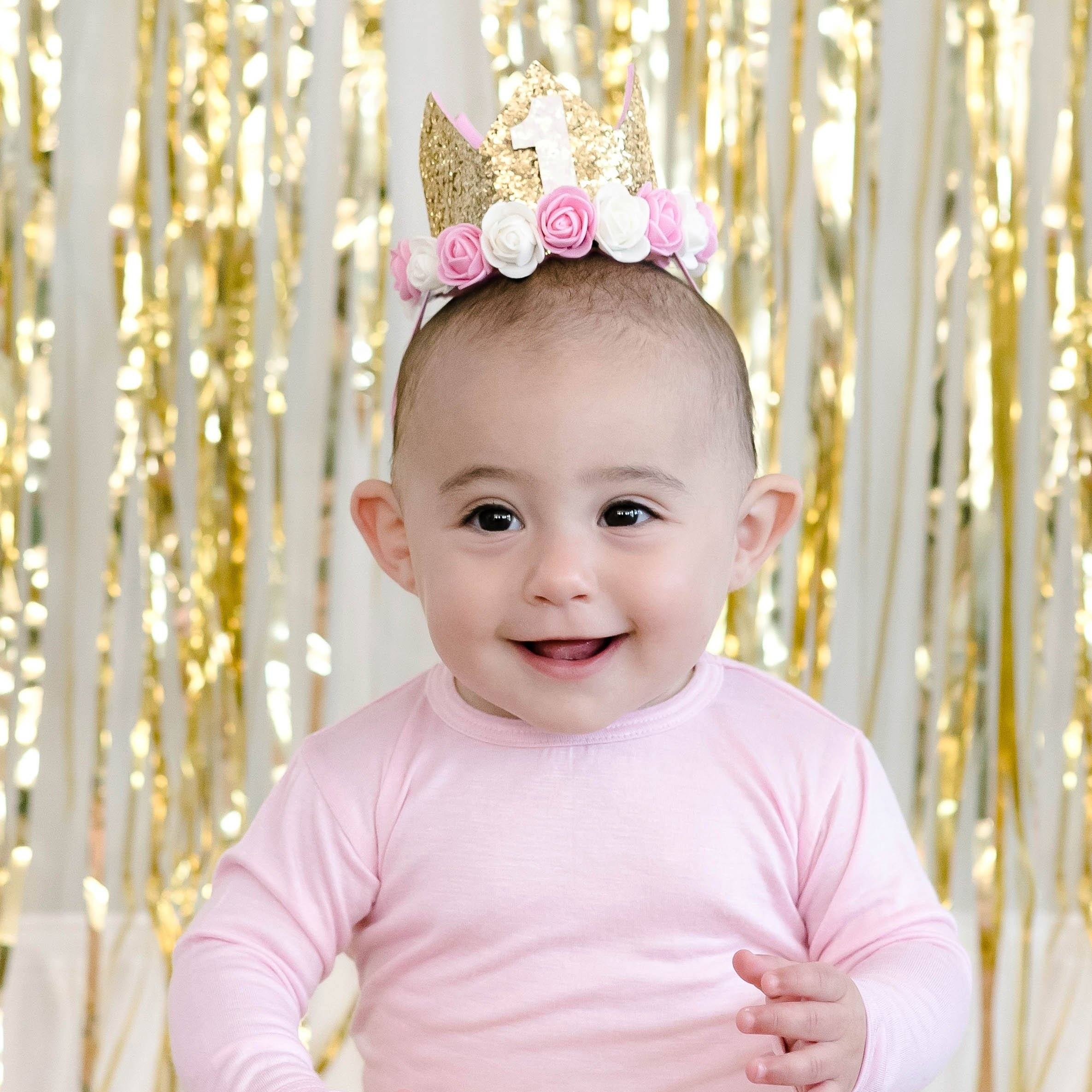 Birthday Flower Crown Gold Glitter Project Nursery