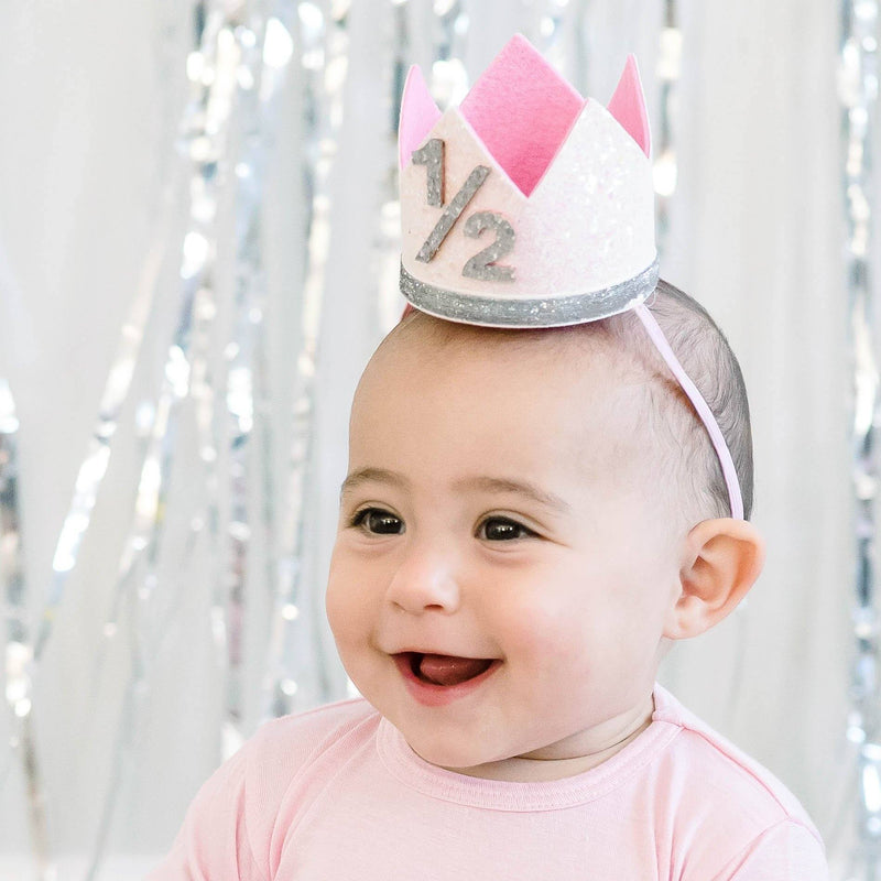 Birthday Party Crown - White + Silver Glitter - Project Nursery
