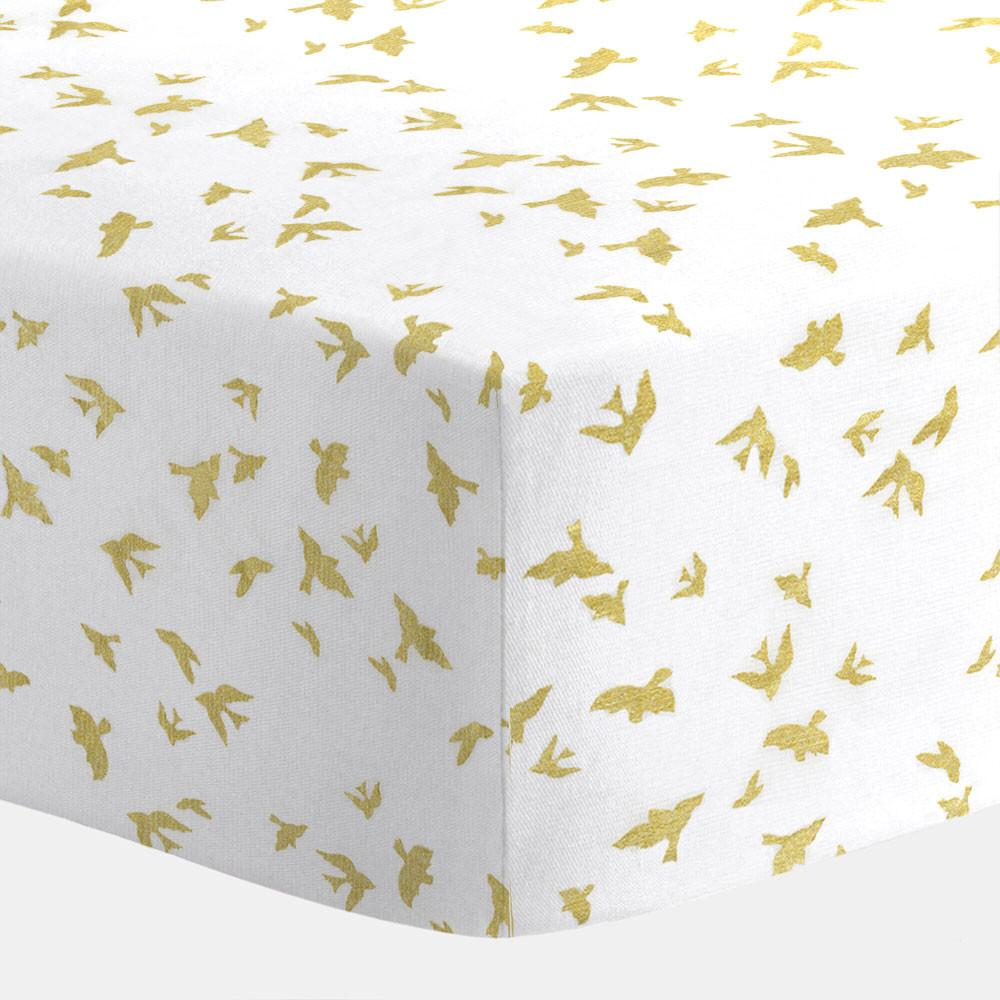 White and Gold Birds Crib Sheet  - The Project Nursery Shop