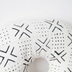 Mud Cloth Nursing Pillow Cover - White + Black Xs + Dots Bold - Project Nursery