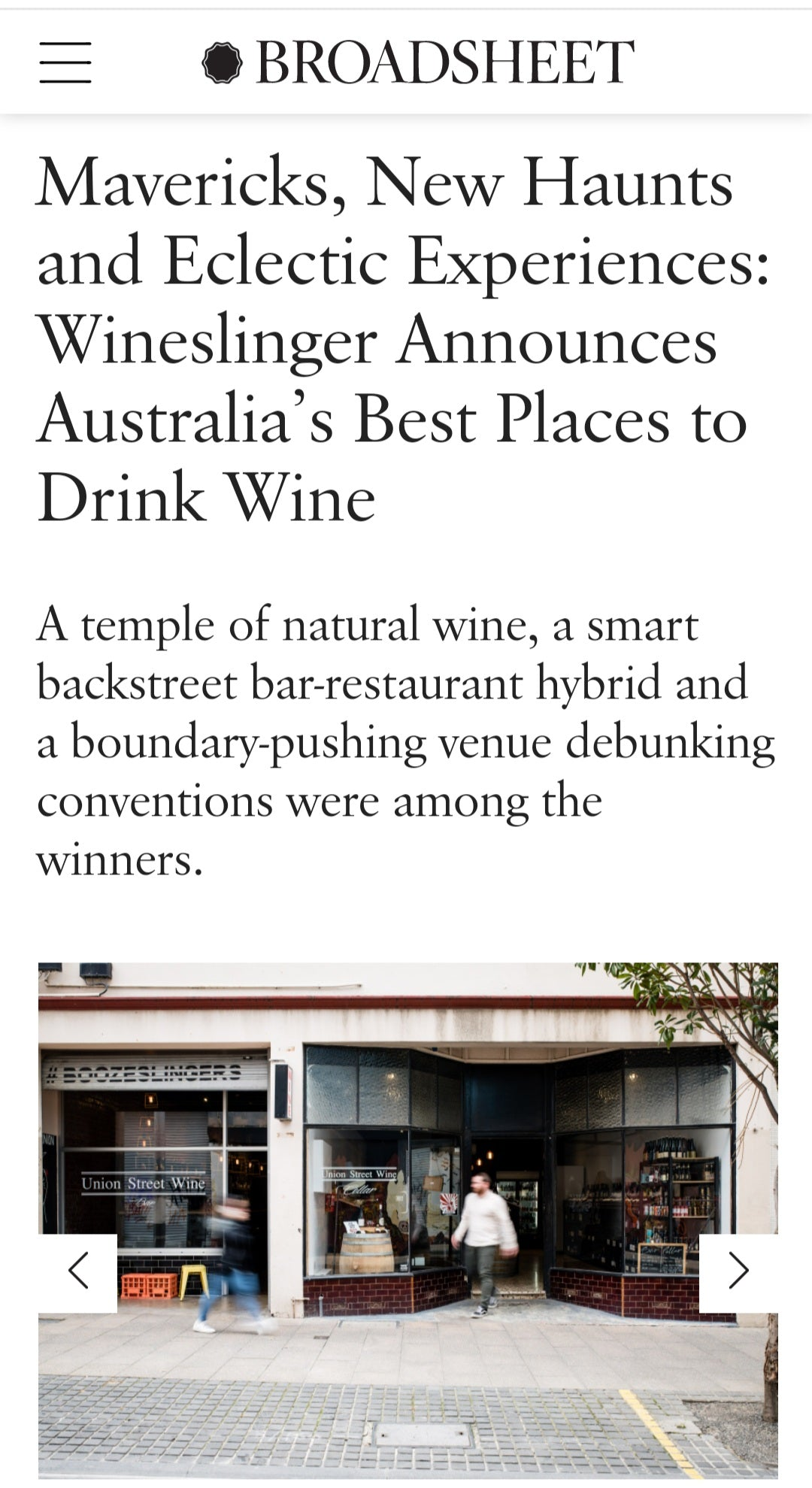 Mavericks, New Haunts and Eclectic Experiences: Wineslinger Announces Australia's Best Places to Drink Wine