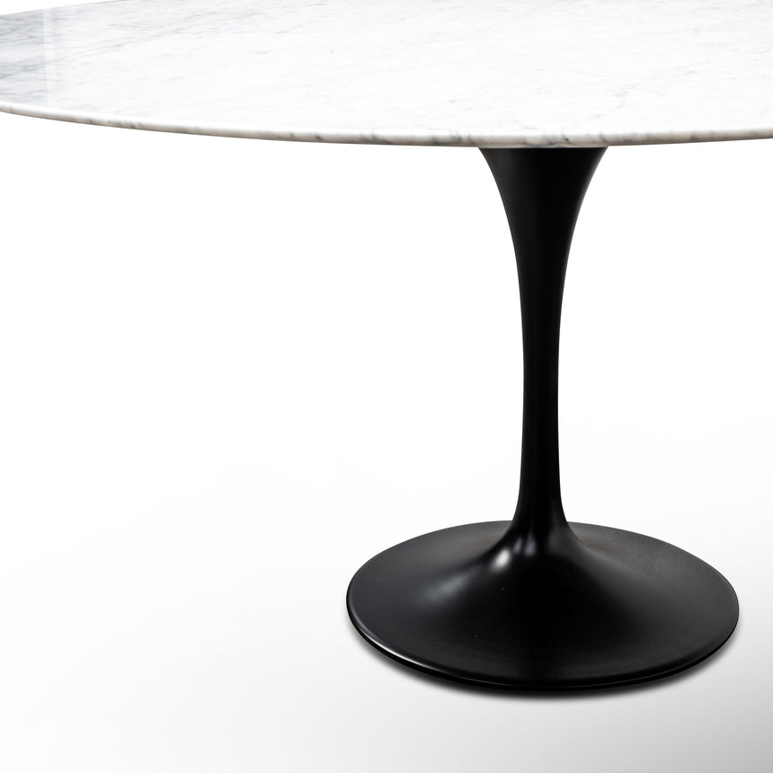 CDT6030-SD 1.5m - White Marble Round Dining Table - Black Base