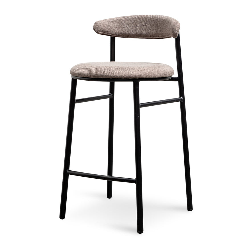 CBS6034-SD - Fabric 65cm Bar Stool in Caramel Grey - Black Legs