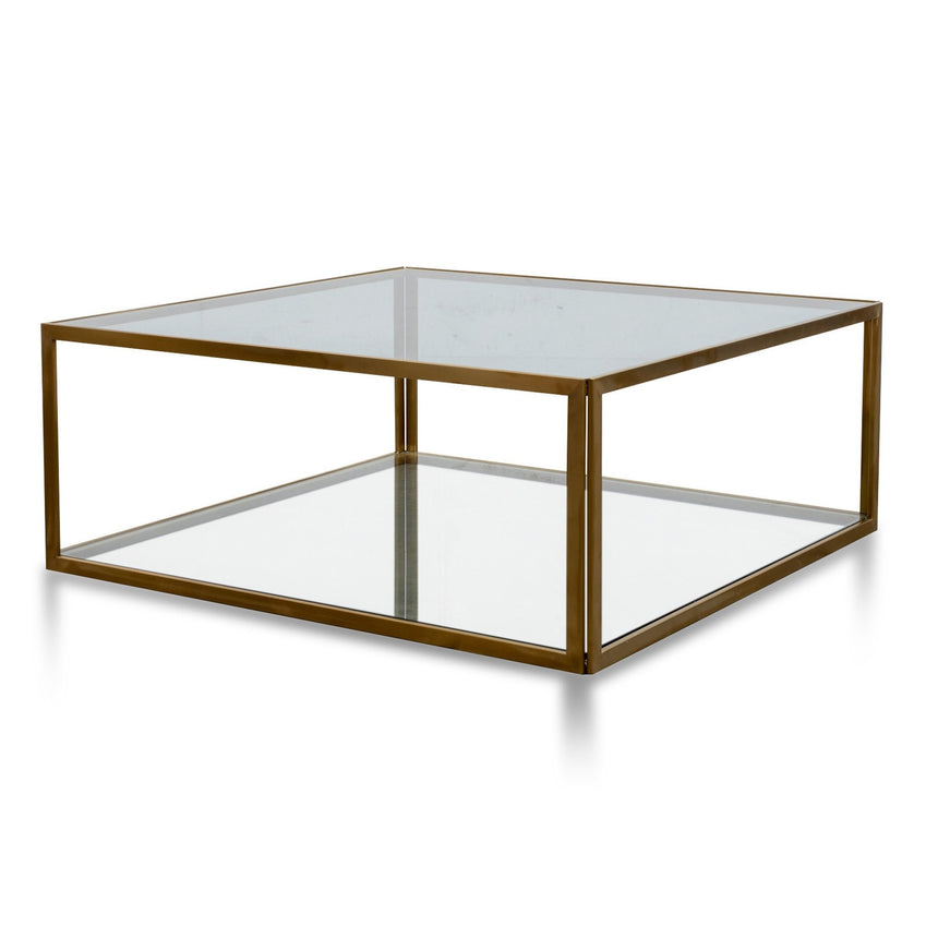 CCF2878-KS - 1M Glass Coffee Table - Gold Base
