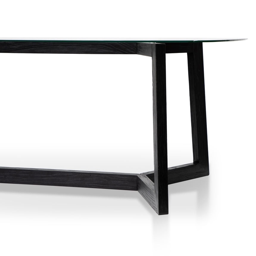 CDT2797-NI 2.4m Dining Table - Glass Top with Black Base