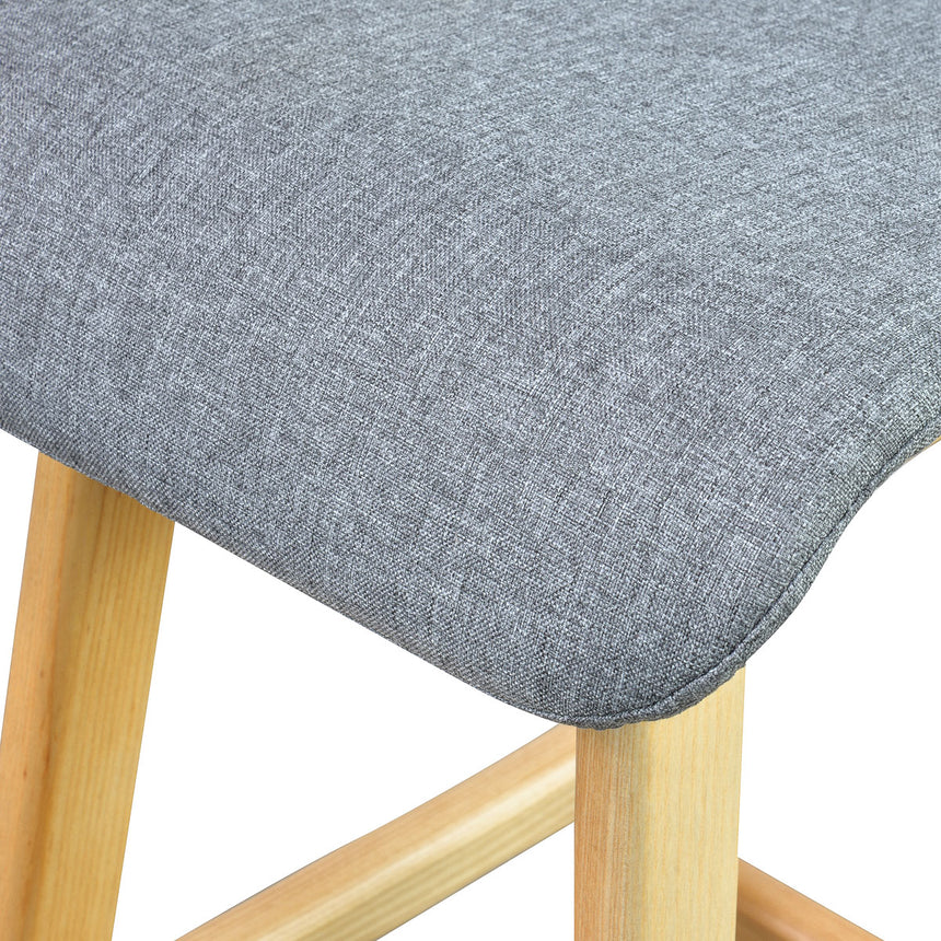 CBS292 Replica 66cm Bar Stool - Light Grey Fabric - Natural