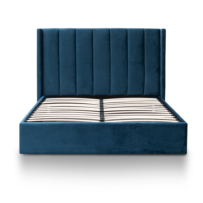 CBD6019-YO Queen Bed Frame - Teal Navy Velvet with Storage