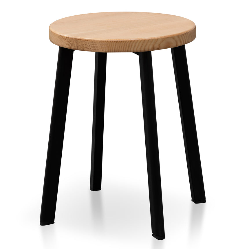 CBS2940-NH 46cm Natural Wooden Seat Low Stool - Black Legs