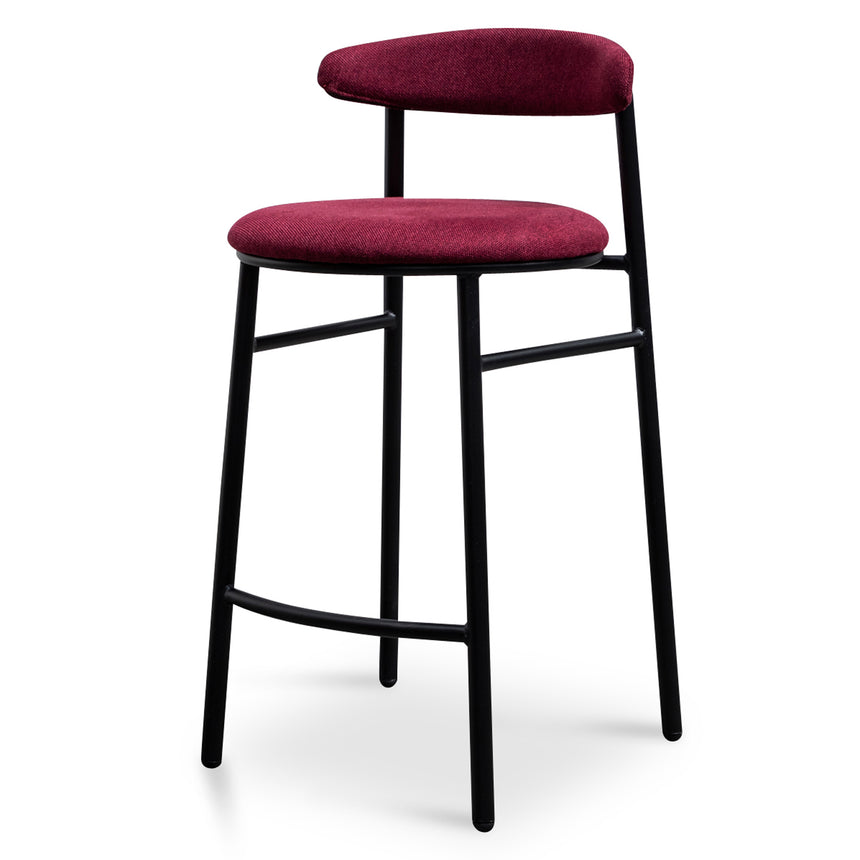 CBS6035-SD Fabric 65cm Bar Stool in Burgundy - Black Legs