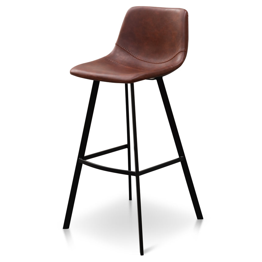 CBS6219-SE 80cm Bar Stool - Cinnamon Brown PU Leather (Set of 2)