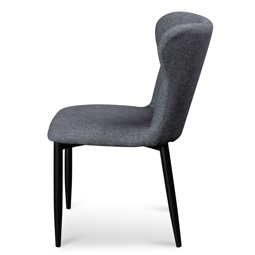 CDC6114-ST Fabric Dining Chair - Pebble Grey with Black Legs