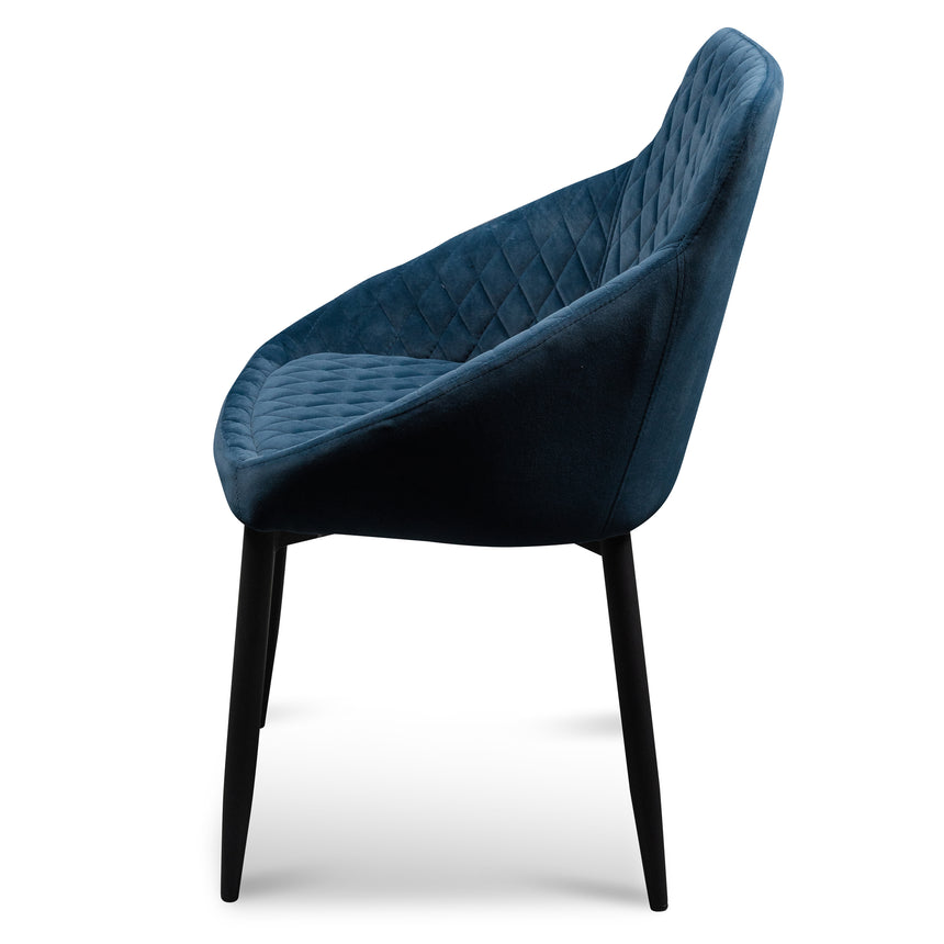 CDC6121-ST Dining Chair - Navy Blue Velvet with Black Legs