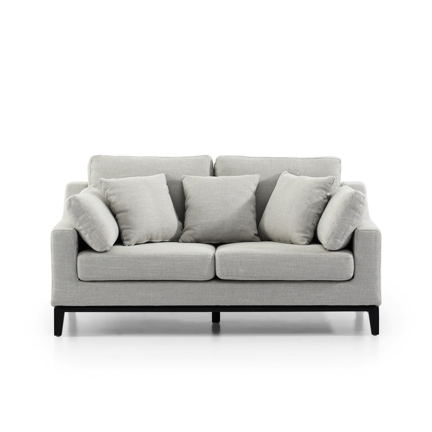 CLC2825-SKS 2 Seater Fabric Sofa - Light Texture Grey with Black Base