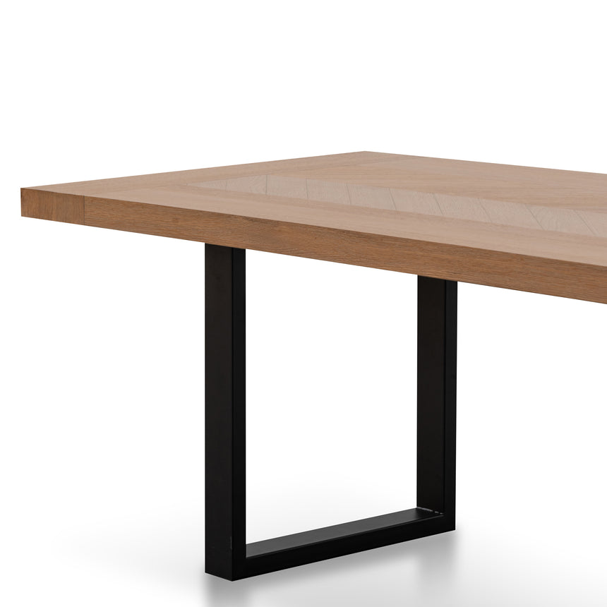 CDT2909-VA 2.4m Dining Table - Dusty Oak with Matte Black Base