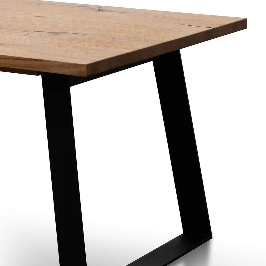 CDT6060-SI 2.2m Straight Top Dining table - Rustic Oak Veneer - Metal Legs