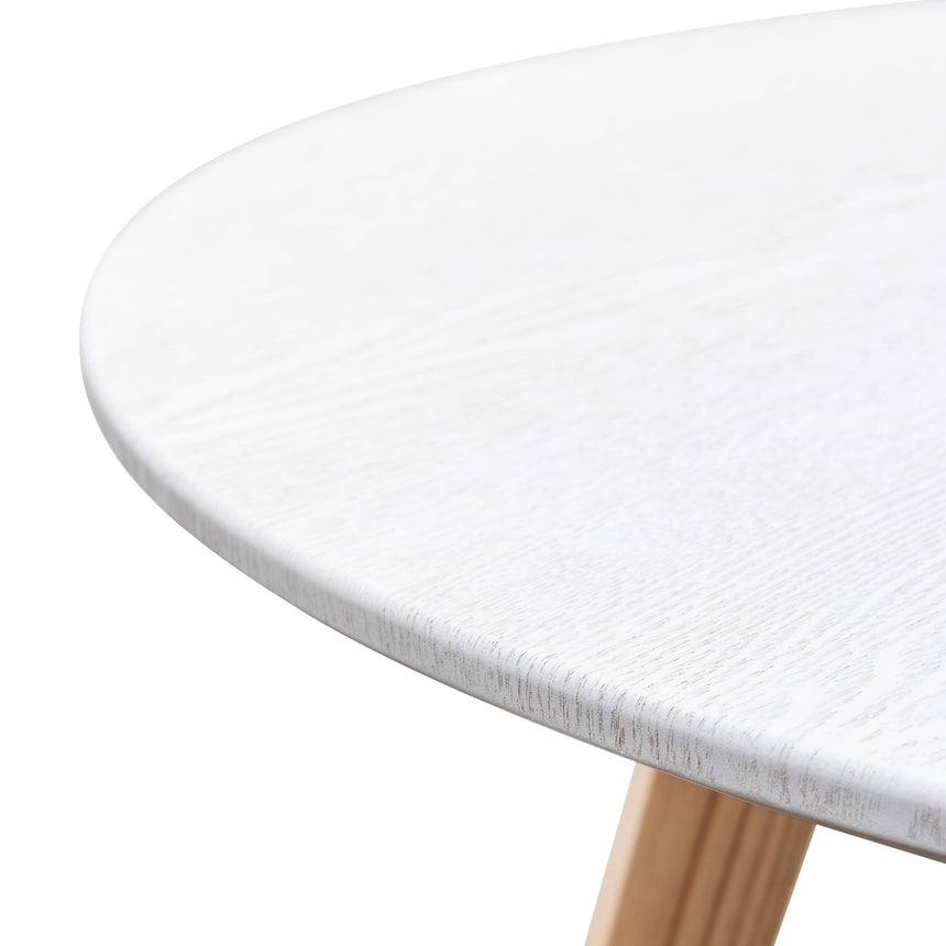 CDT6158-SD 100cm Round Dining Table - Washed White Top - Natural Legs