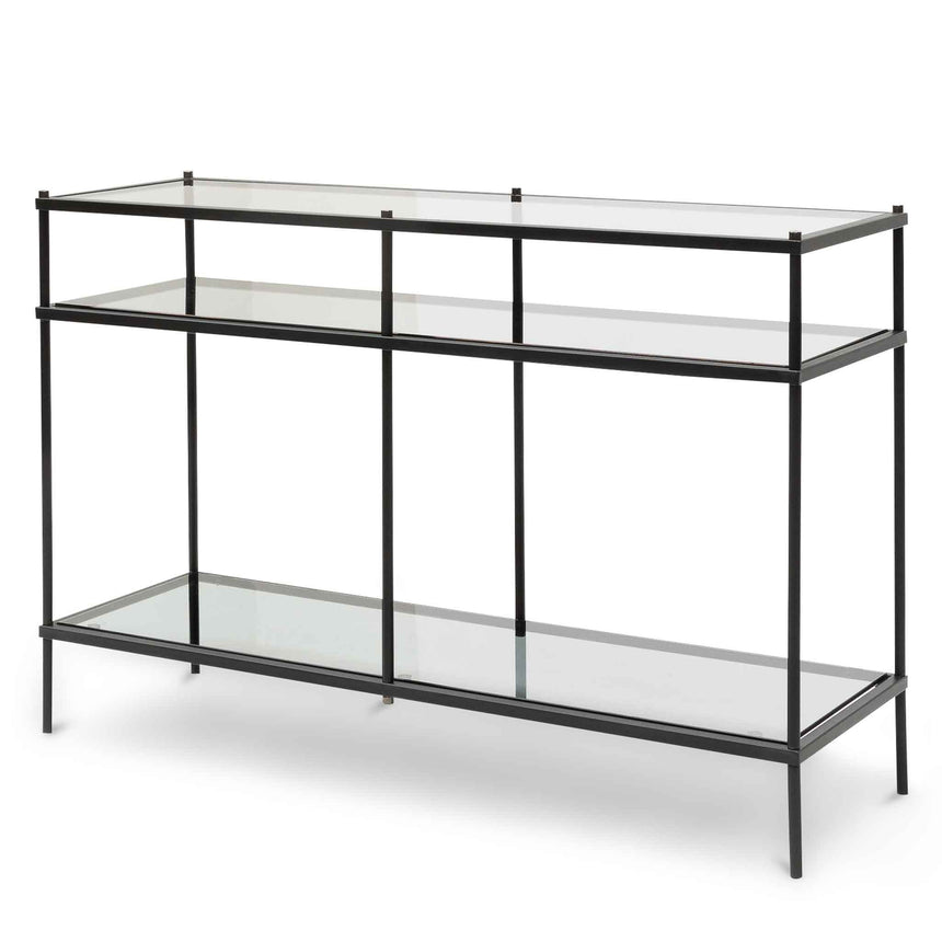 CDT6395-KS 1.2m Grey Glass Console Table - Black Base