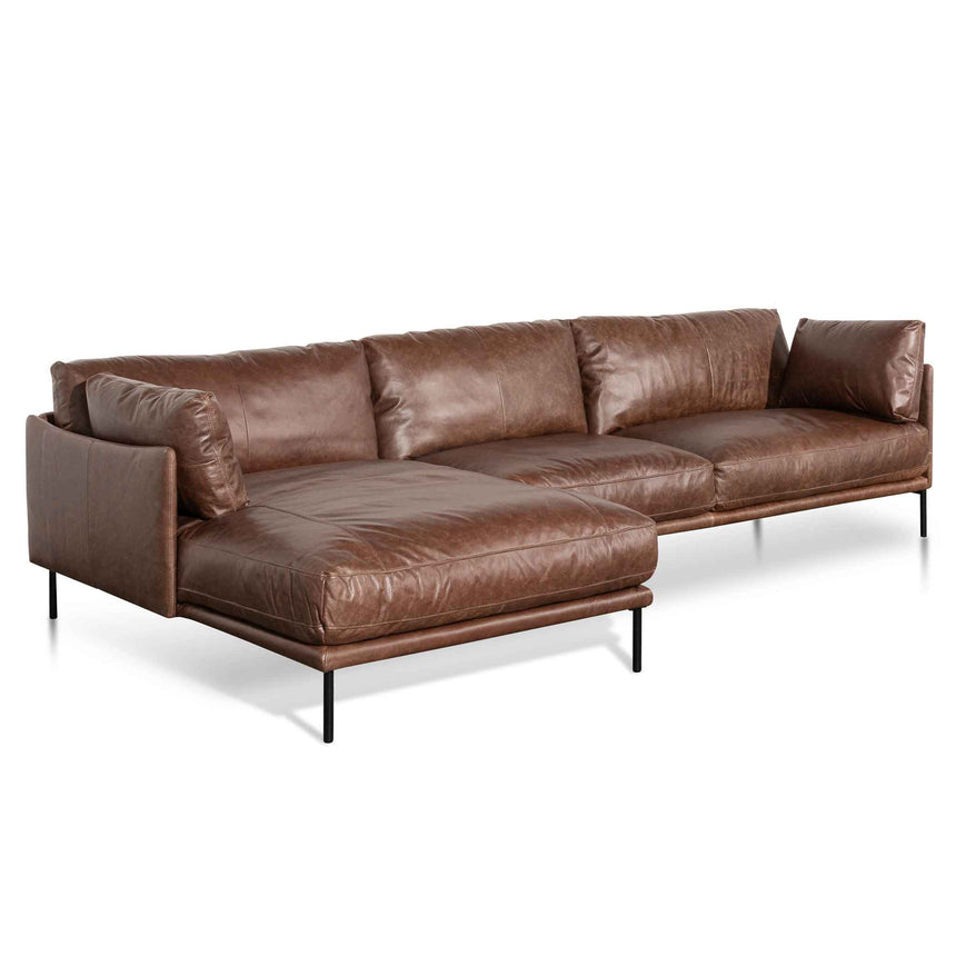 CLC6433-KSO 4 Seater Left Chaise Leather Sofa - Dark Brown