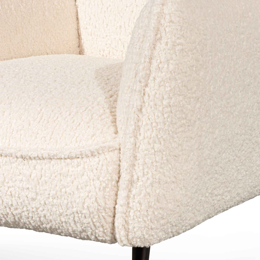 CLC6440-KSO Wingback Fabric Armchair - White Synthetic Wool