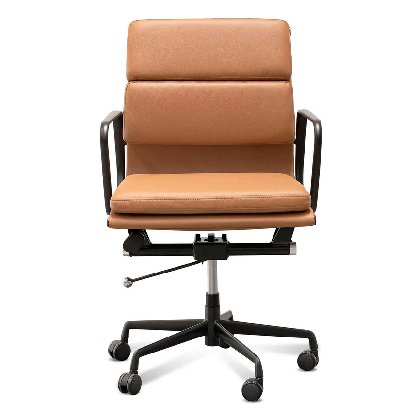 COC6404-YS Low Back Office Chair - Saddle Tan in Black Frame