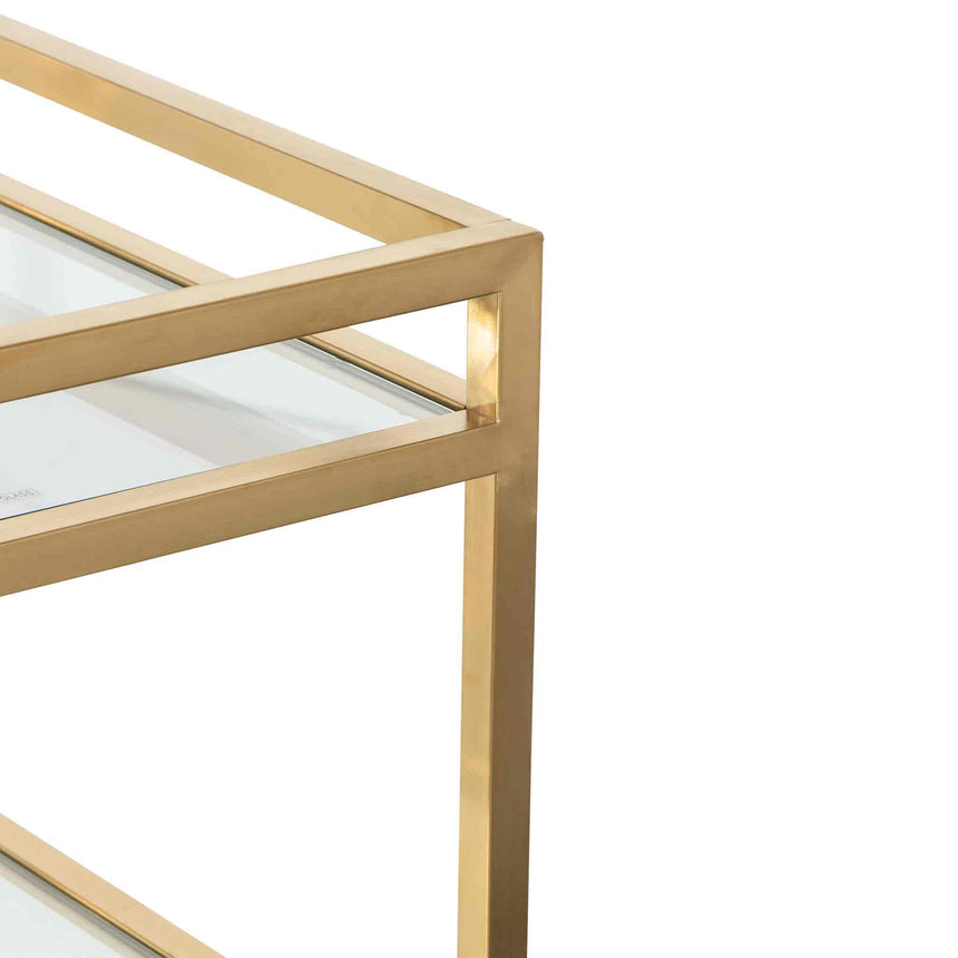CBR6222-BS Glass Bar Cart - Brushed Gold Base