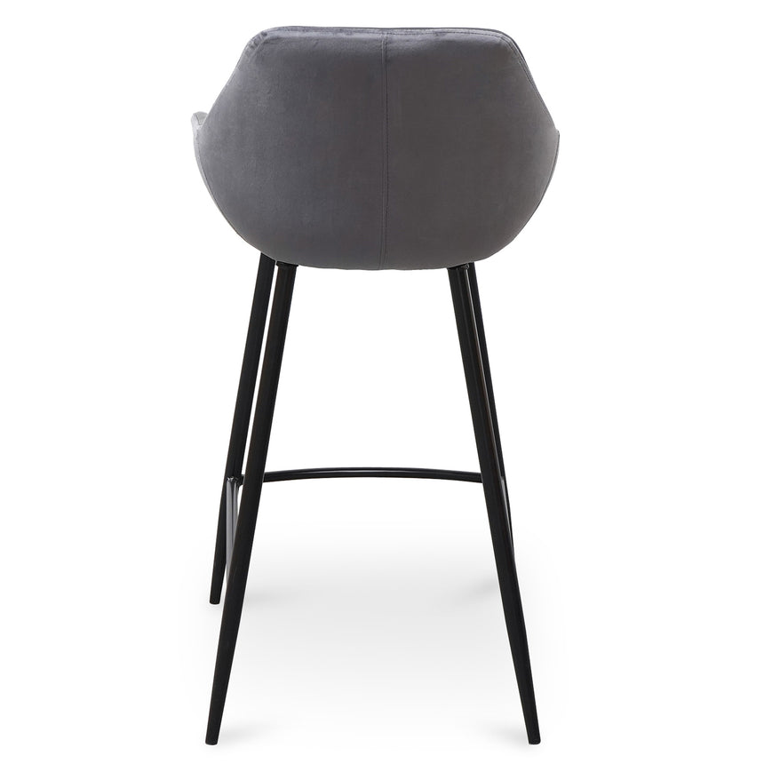 CDC2751-SE - Barstool - Black PU & Grey Velvet - (Set of 2)
