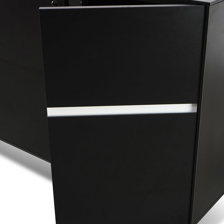 CDT2754-SN 2 Drawer Filing Cabinet With Cupboard - Black
