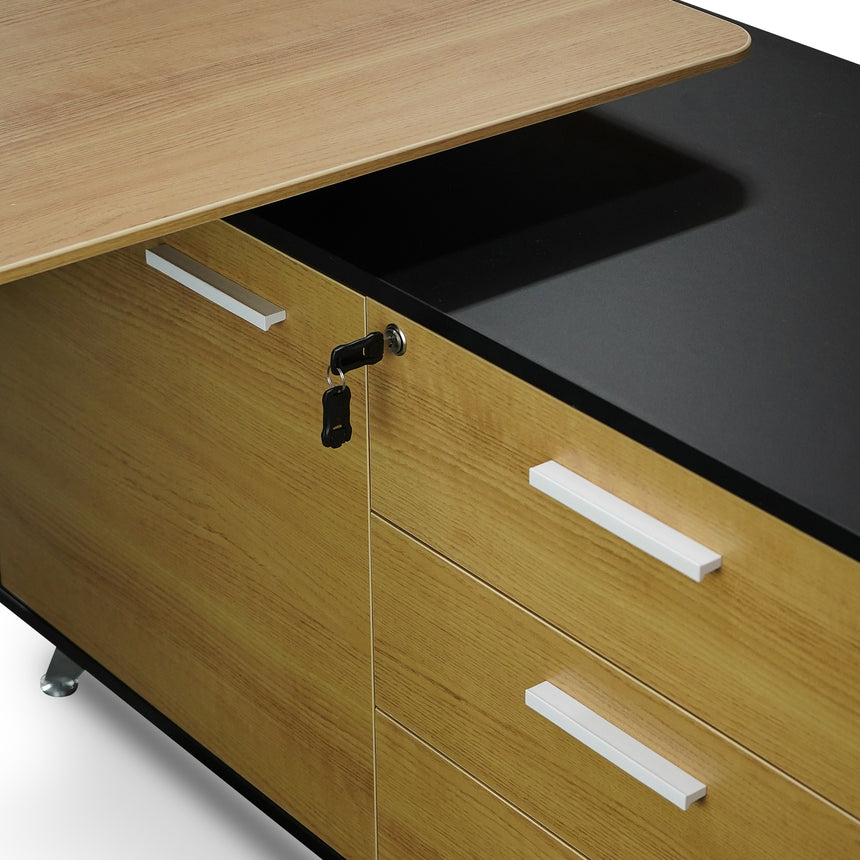 COT2861-SN 1.95m Executive Desk Right Return - Black Frame with Natural Top and Drawers