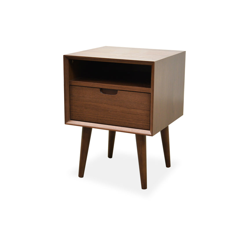 CST221WAL-VN SQ Wooden Bedside Table - Walnut