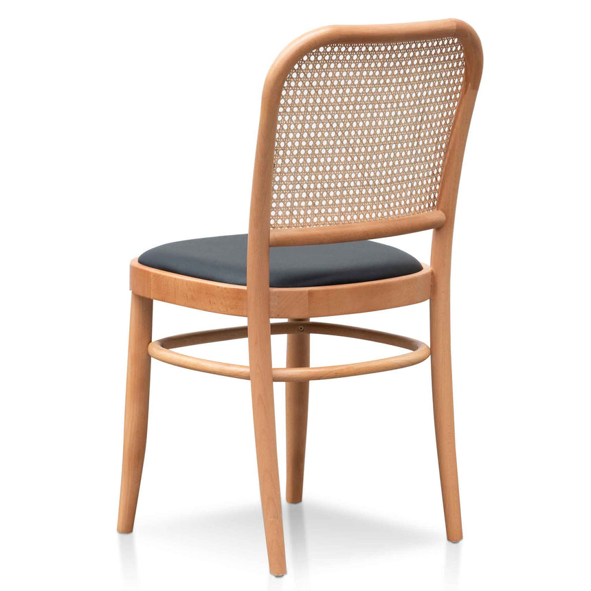 DC6383-SD Black Cushion Dining Chair - Natural Rattan and Frame