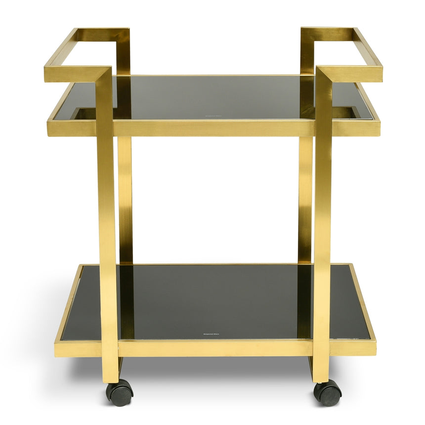 CBR006-KS Bar Cart - Tempered Glass - Gold  Base