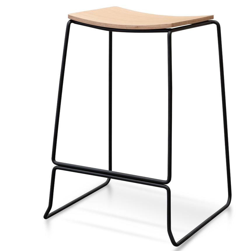 CBS2454-NH Bar Stool With Natural Timber Seat - Black Frame