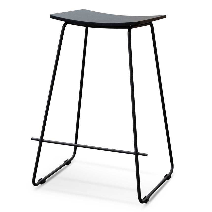 CBS2459-NH Black Timber Seat 65cm Bar Stool - Black Frame