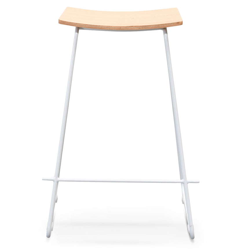 CBS2460-NH Bar Stool With Natural Timber Seat - White Frame