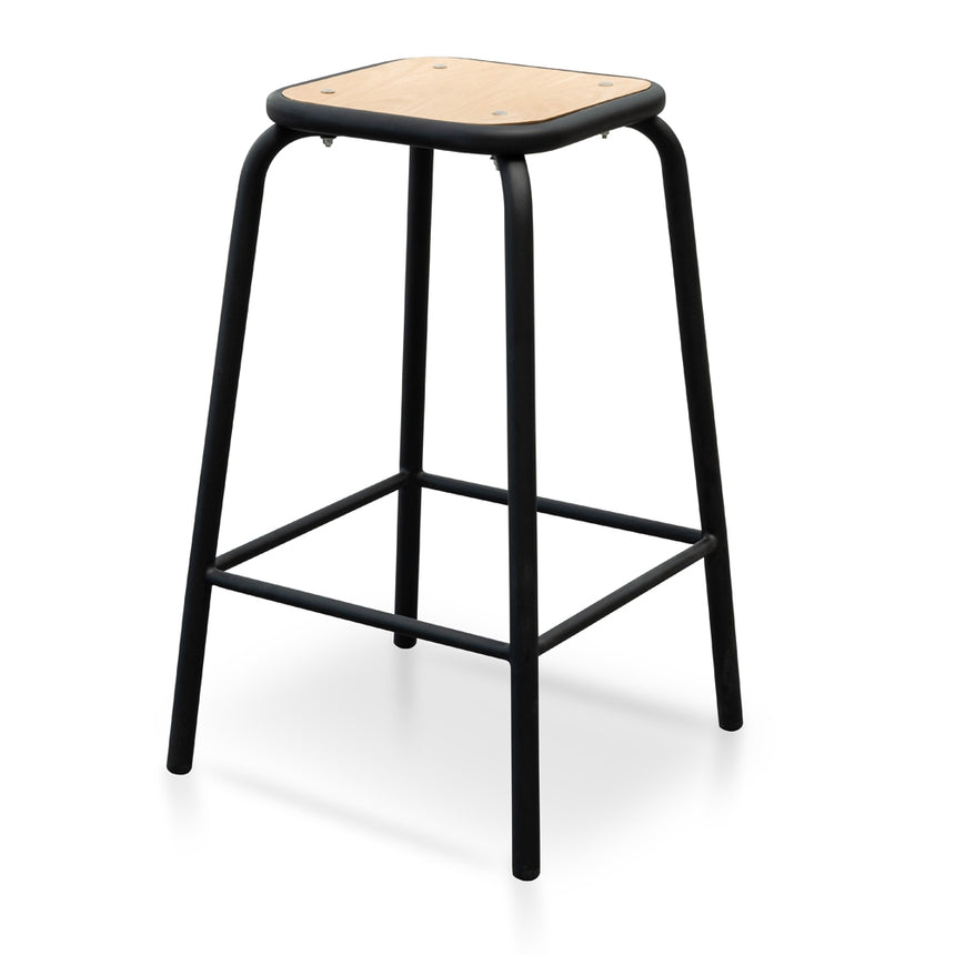 CBS2462-NH Bar Stool With Natural Timber Seat - Black Frame