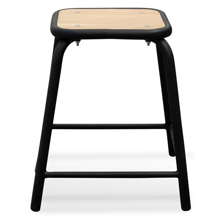 CBS2463-NH Low Stool With Natural Timber Seat - Black Frame