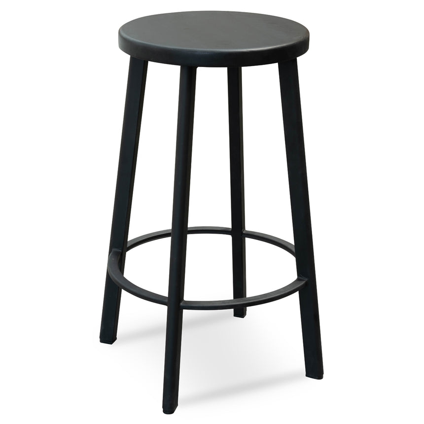 CBS2466-NH 65cm Bar Stool With Black Timber Seat - Black Frame