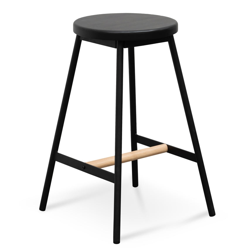 CBS2471-NH Black Timber Seat Bar Stool - Black Frame