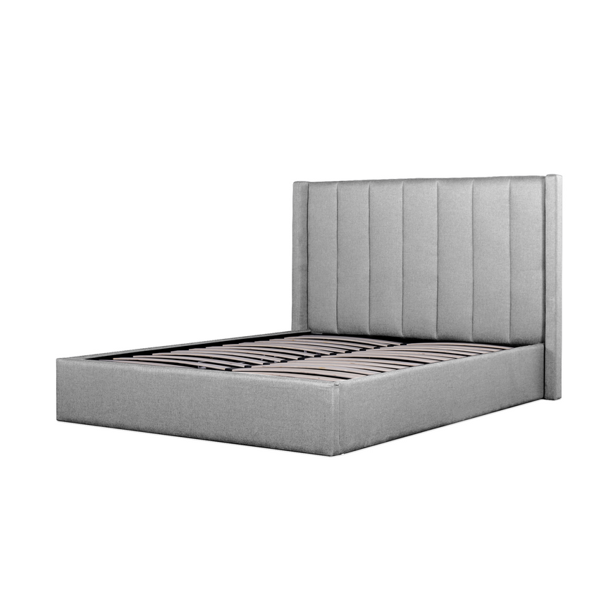 CBD6018-YO Fabric Queen Bed Frame - Pearl Grey with Storage