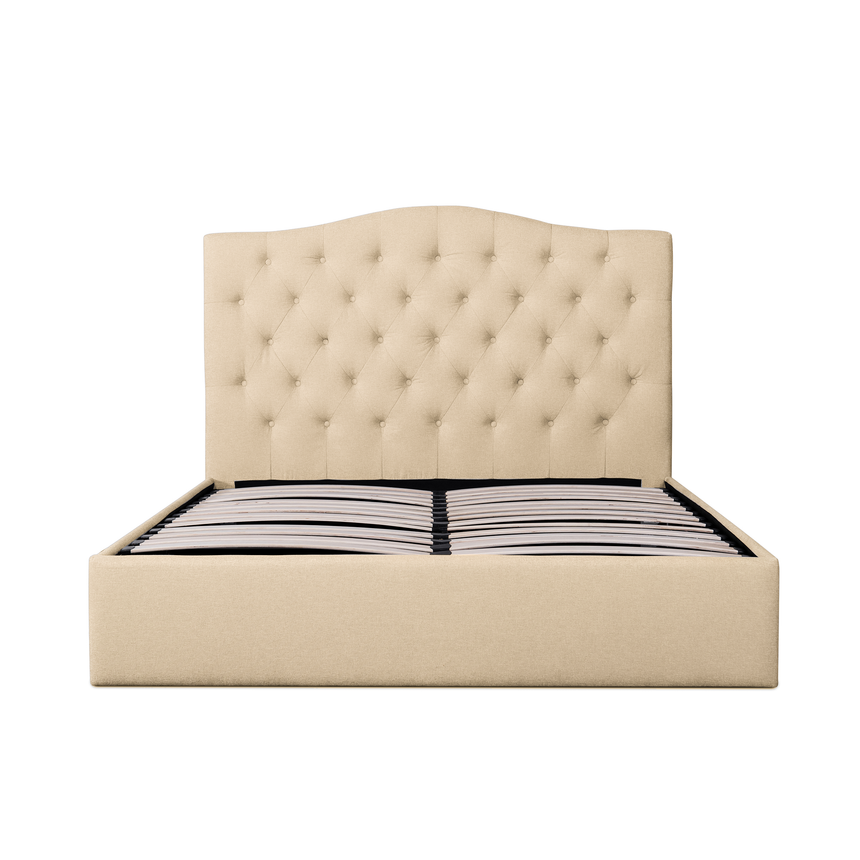 CBD6017-YO Fabric King Bed Frame in Beige