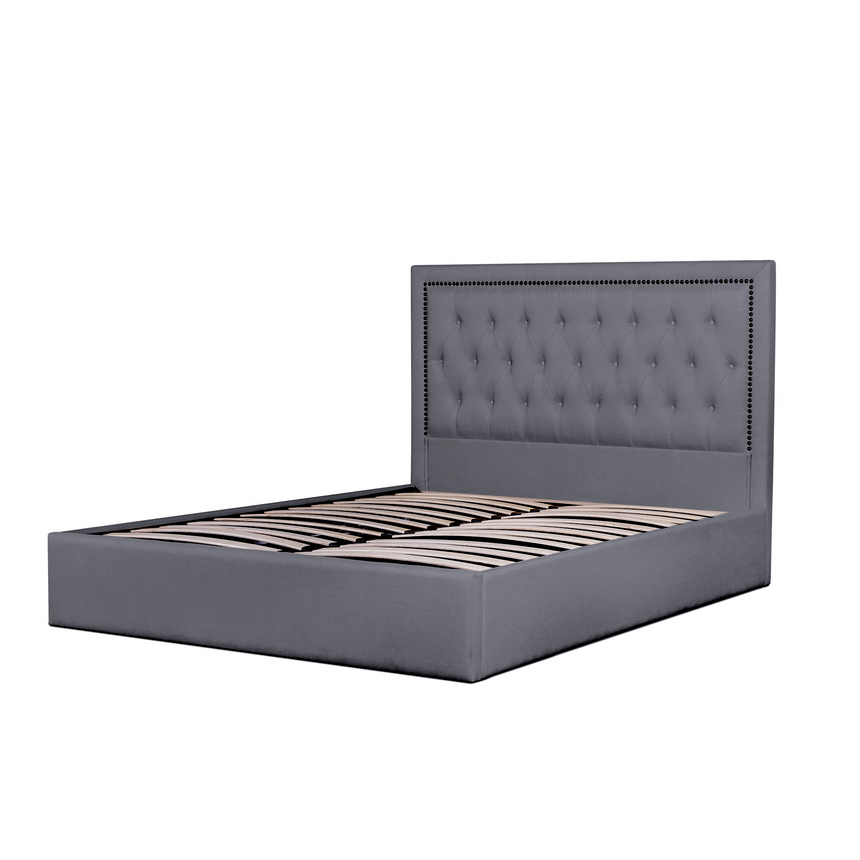 CBD6008-YO Fabric King Bed Frame in Lunar Grey with Tufted Headboard