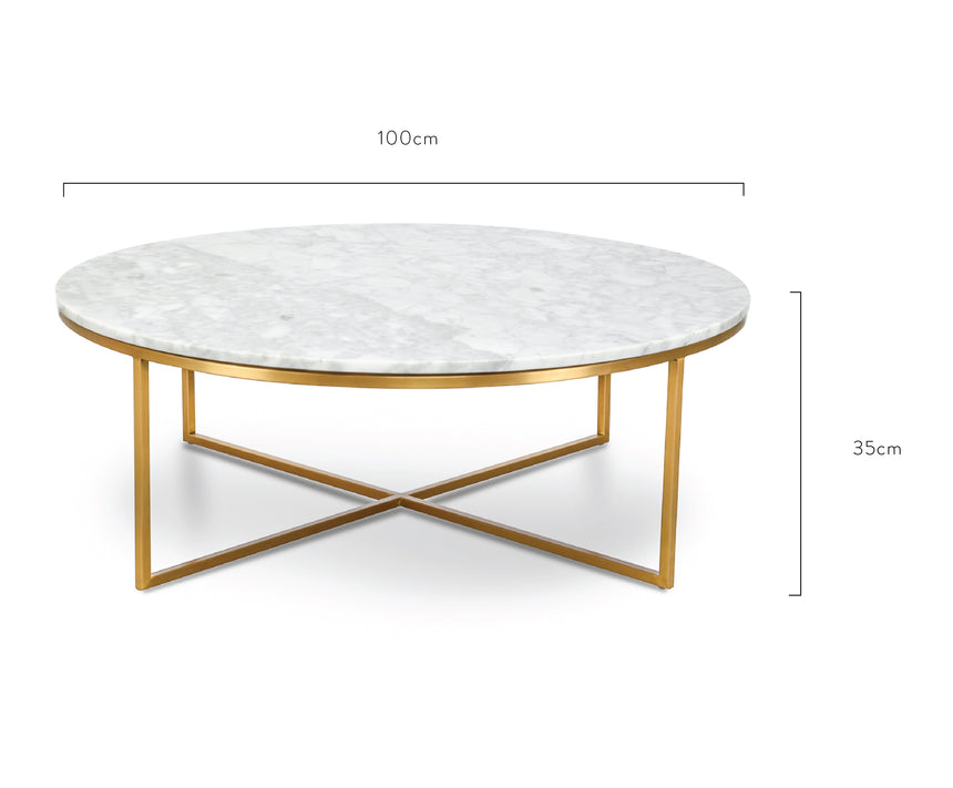 CCF1051-DW 100cm Round Marble Coffee Table