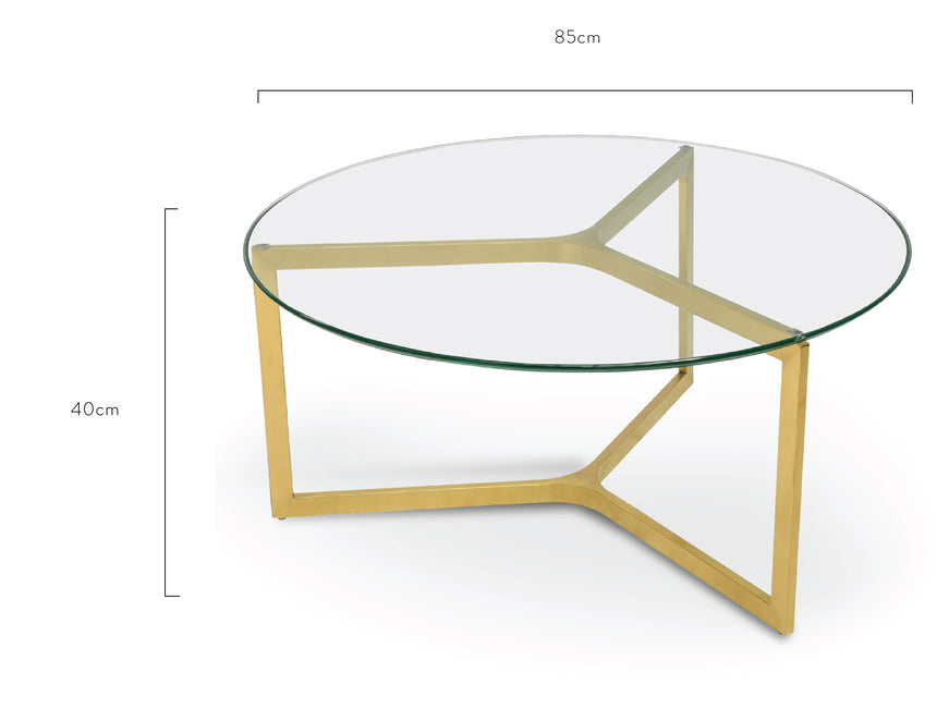 CCF2352-KS 85cm Glass Round Coffee Table - Gold Base