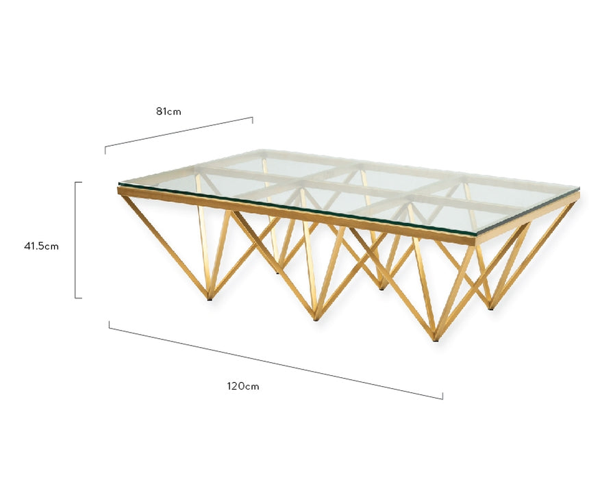 CCF2420-BS 1.2m Coffee Table - Glass Top - Brushed Gold Base