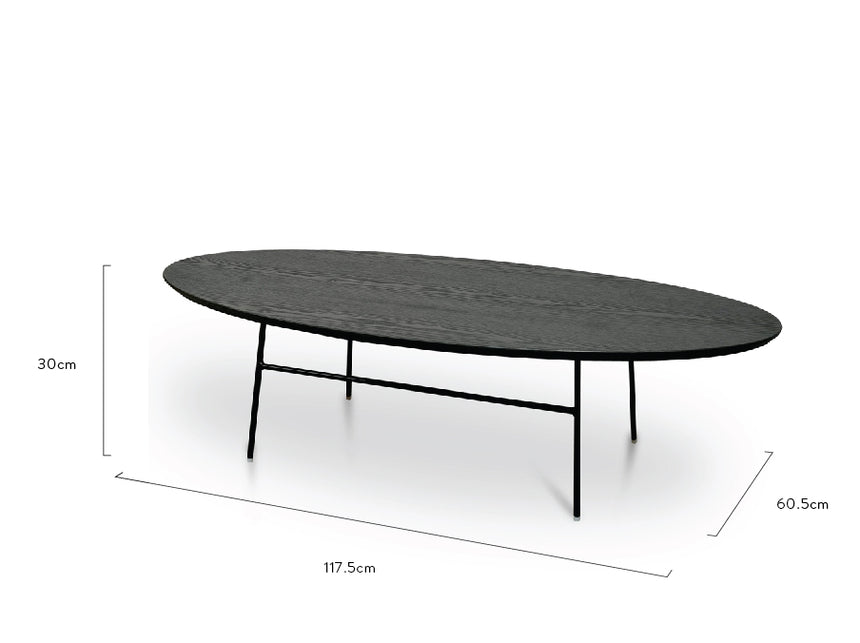 CCF2481-SD 117.5cm Coffee Table - Black Ash Veneer - Black Legs
