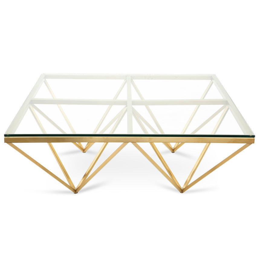 CCF2580-BS 1.05m Glass Coffee Table - Brushed Gold Base